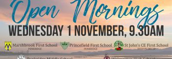 Join us for our Open Morning – Wednesday 1 November – at all five of our schools